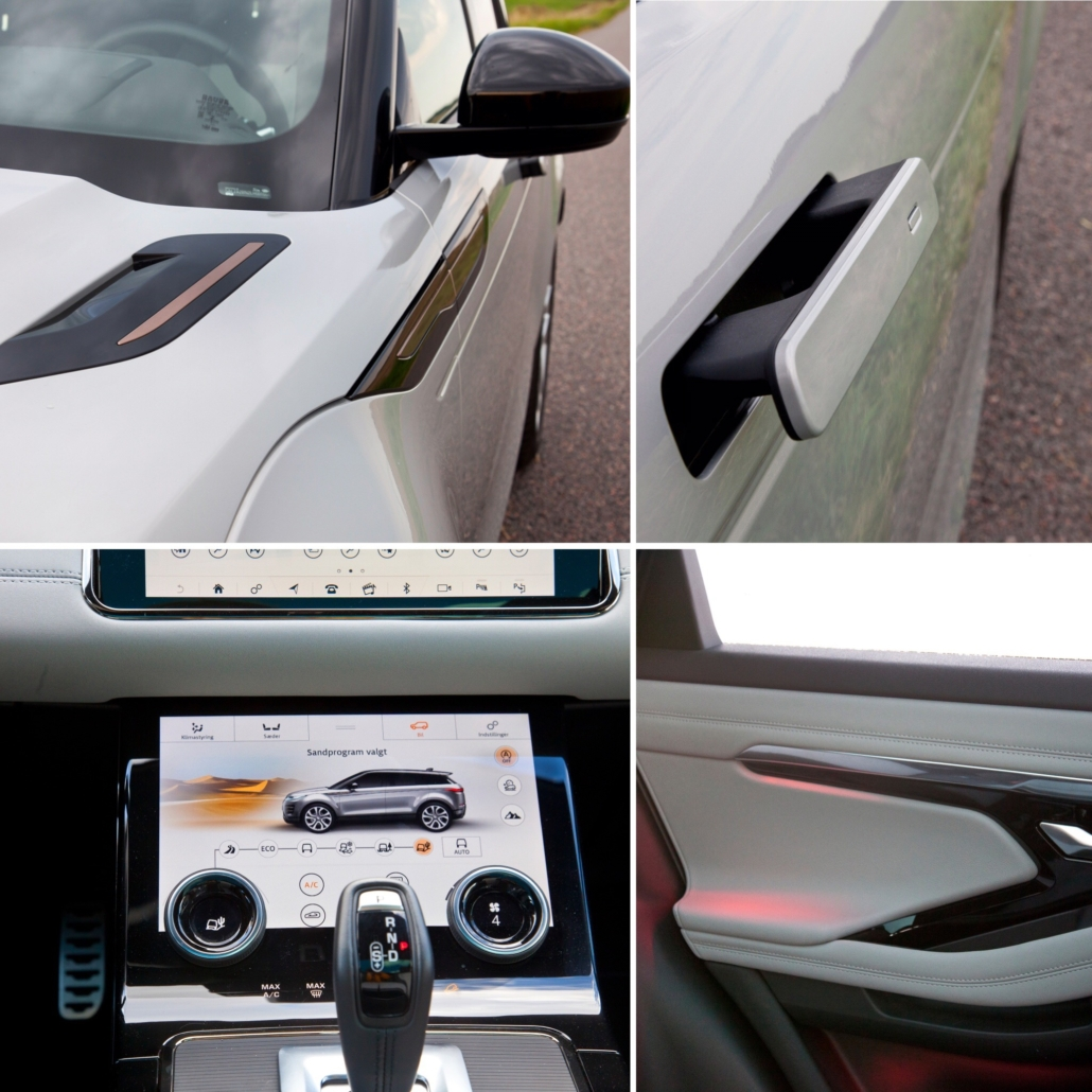 Range Rover Evoque: Fartstriber, håndtag der skubbes ud når bilen er låst op og kabinelys.