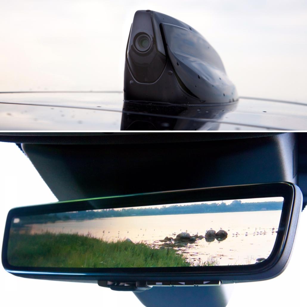 Range Rover Evoque - Elektrisk bakspejl - kamera sidder i hajfinnen på taget.