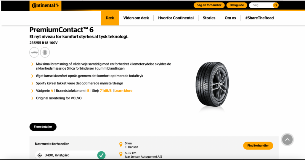 Billede af sommerdæk dæk fra Continental
